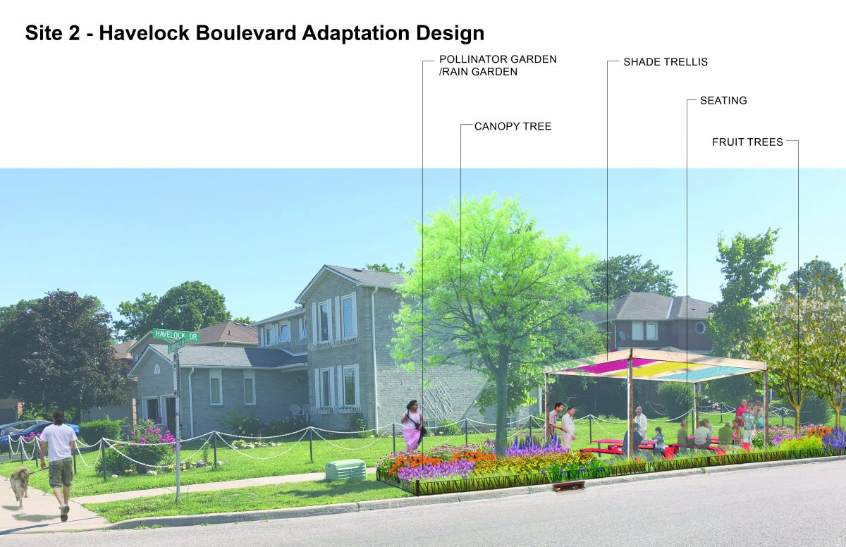 Visual of a suburban residential street in Brampton that incorporates adaptation action neighbourhood design strategies to building community-level resilience to the impacts of climate change. This design incorporates a boulevard pollinator garden, boulevard shade and fruit trees, and a neighbourhood seating area underneath a shade trellis. The image is colourful with a focus on ecosystemic solutions.