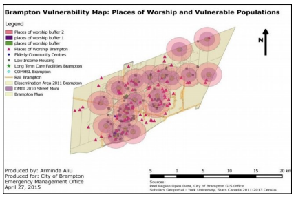 The results of the study also included a map showing concentrations of vulnerable populations, distribution of FBOs, and 1.5km distance to place of refuge. It was found that many FBOs were located near vulnerable populations, meaning they were well-suited to act as a resilience hub in the community.