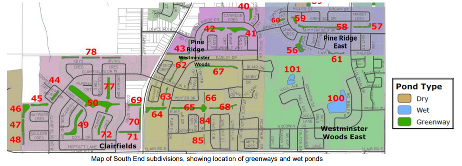 Map of South End subdivisions, showing location of greenways and wetponds.