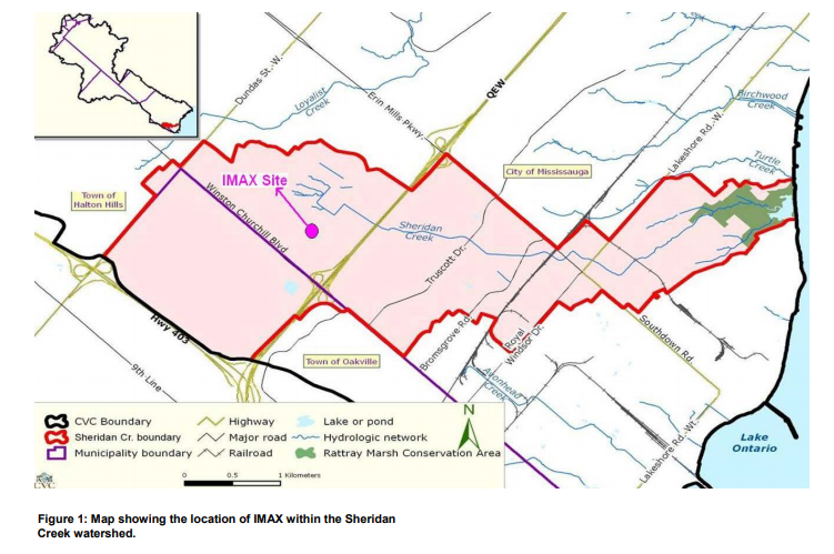 Map showing the location of IMAX within the Sheridan Creek watershed