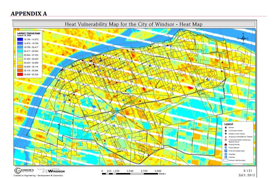 Carte de vulnérabilité à la chaleur pour la Ville de Windsor – Carte des points chauds