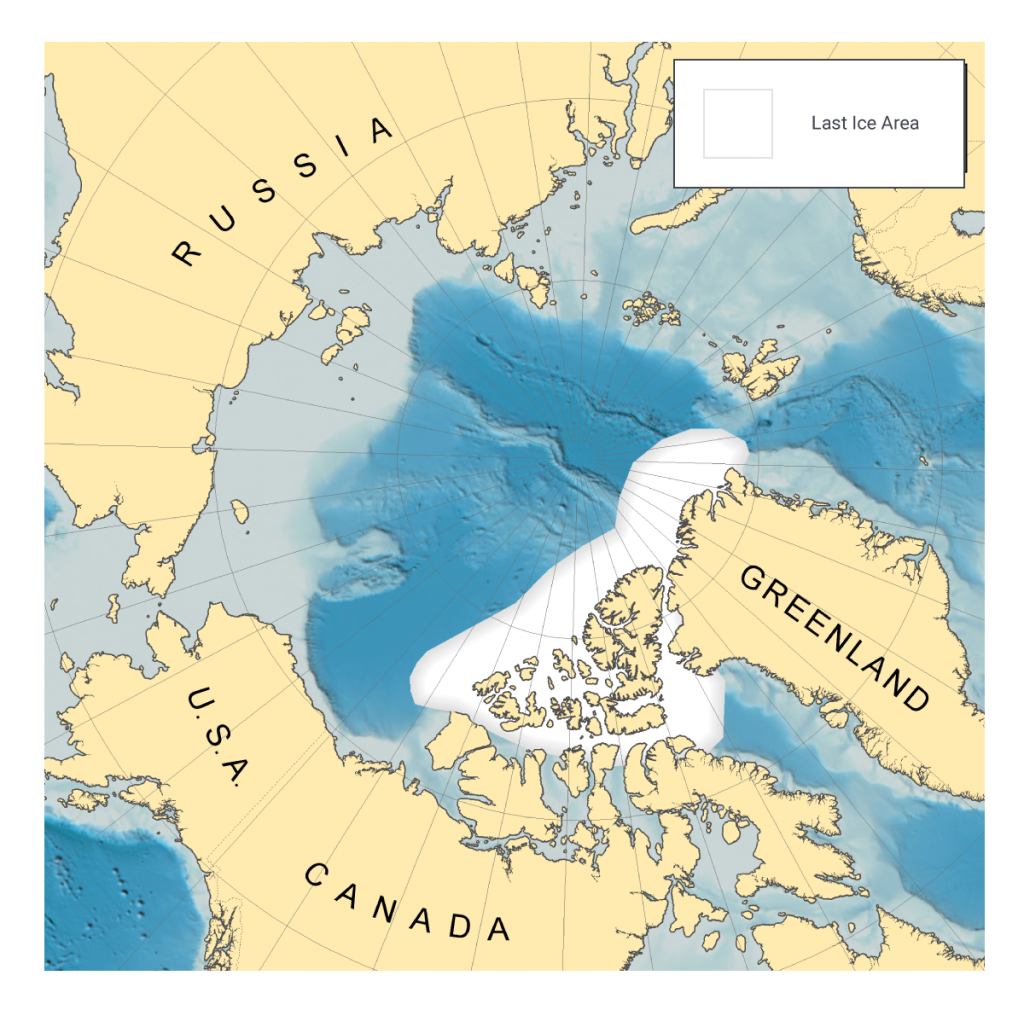 Map showing the location of the last sea ice area in the Arctic during the summer months, determined from climate model projections. The last ice area is composed of regions immediately north of Greenland and the Canadian Arctic Archipelago, as well as areas between the northern islands of the archipelago.
