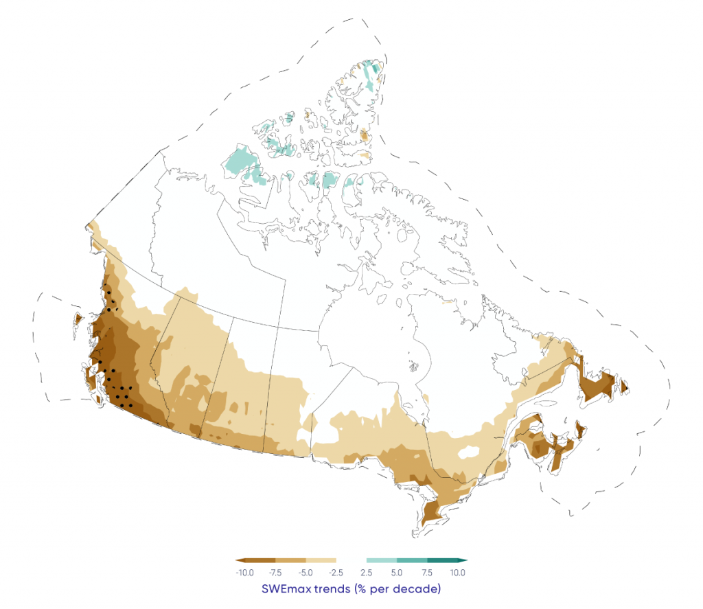 Map showing projected trends in pre-melt maximum snow water equivalent (SWEmax) across Canada, 2020–2050, for Canadian land areas. Trends are calculated from the multi-model mean of an ensemble climate models (Coupled Model Intercomparison Project - CMIP5), using a high emission scenario (RCP8.5). SWEmax is projected to decrease for all of southern Canada.