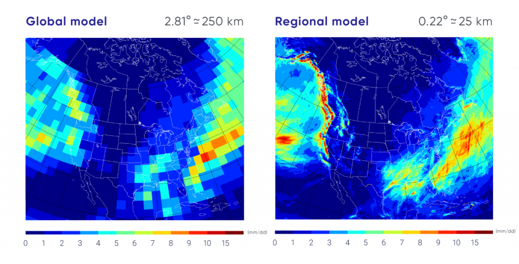 The left panel shows a map of North America covered by coloured squares, illustrating the precipitation simulated by a global model for a particular month — the coarse resolution is clearly evident by the large coloured squares. The right panel shows the same map of North America, but this time with monthly precipitation simulated by a 25 km resolution regional model. The colour scales are the same, but in this case the fine detail provided by a regional model is clearly evident, with intense precipitation over the mountain areas of British Columbia, for example.