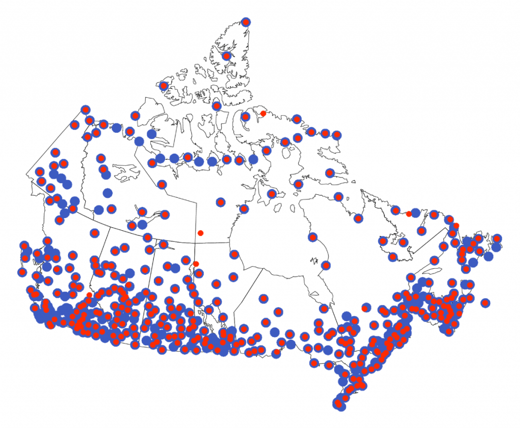 This figure shows a map of Canada, with numerous red and blue dots indicating the location of observing stations (red for temperature; blue for precipitation). The density of dots is much higher in southern Canada than it is in the North.