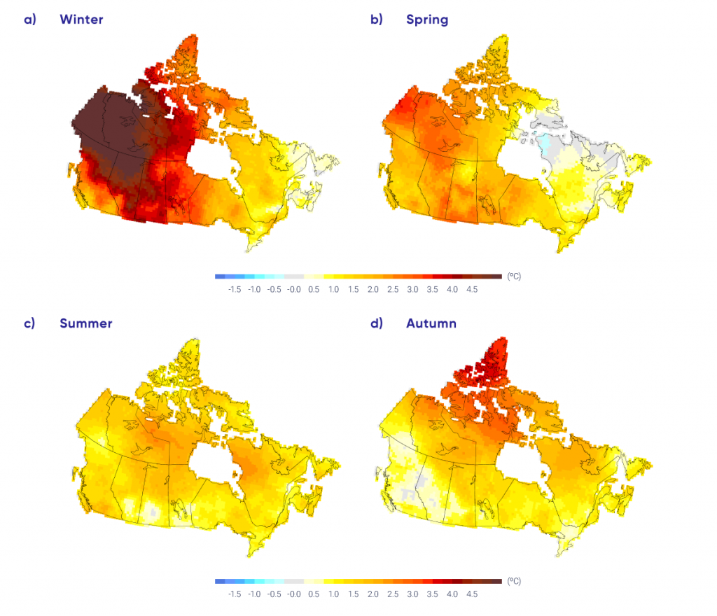 "This four-panel figure shows maps of Canada with coloured shading indicating temperature trend from 1948 to 2016. The four panels are labelled ""winter,"" ""spring,"" ""summer,"" and ""autumn."" The colour scale goes from yellow, for trends of about 1°C; orange, for trends of about 2°C; and red, for trends of 3°C or larger. The winter panel has the Maritimes, Quebec, and Ontario shaded in yellow to light orange, and all of western and northern Canada in dark orange and red. The deepest red colours, indicating warming of 4°C or more, are in the Northwest Territories and Yukon. The summer map is much more uniform, with light yellow to light orange shading everywhere. The spring and autumn maps show intermediate shading."