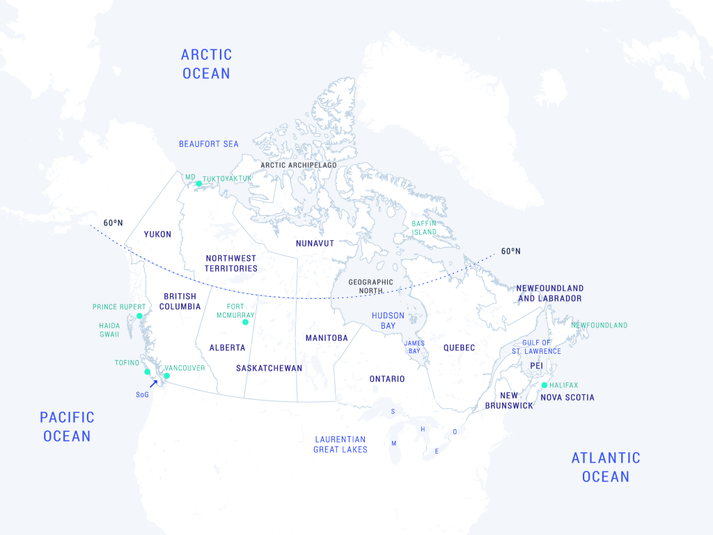 The map shows land, freshwater and marine locations in Canada mentioned in this chapter, as a reference for place names.