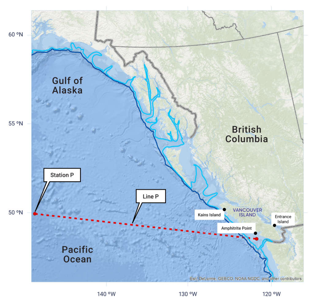 Map showing locations of British Columbia Shore Station Oceanographic Program sites on the east (Entrance Island) and west (Amphitrite Point and Kains Island) coasts of Vancouver Island. Offshore ocean temperature, salinity and other observations are collected by the DFO Line P monitoring program extending out to Station P, which is the former location of the Ocean Weather Station Papa, about 1,400 km west of Vancouver Island.