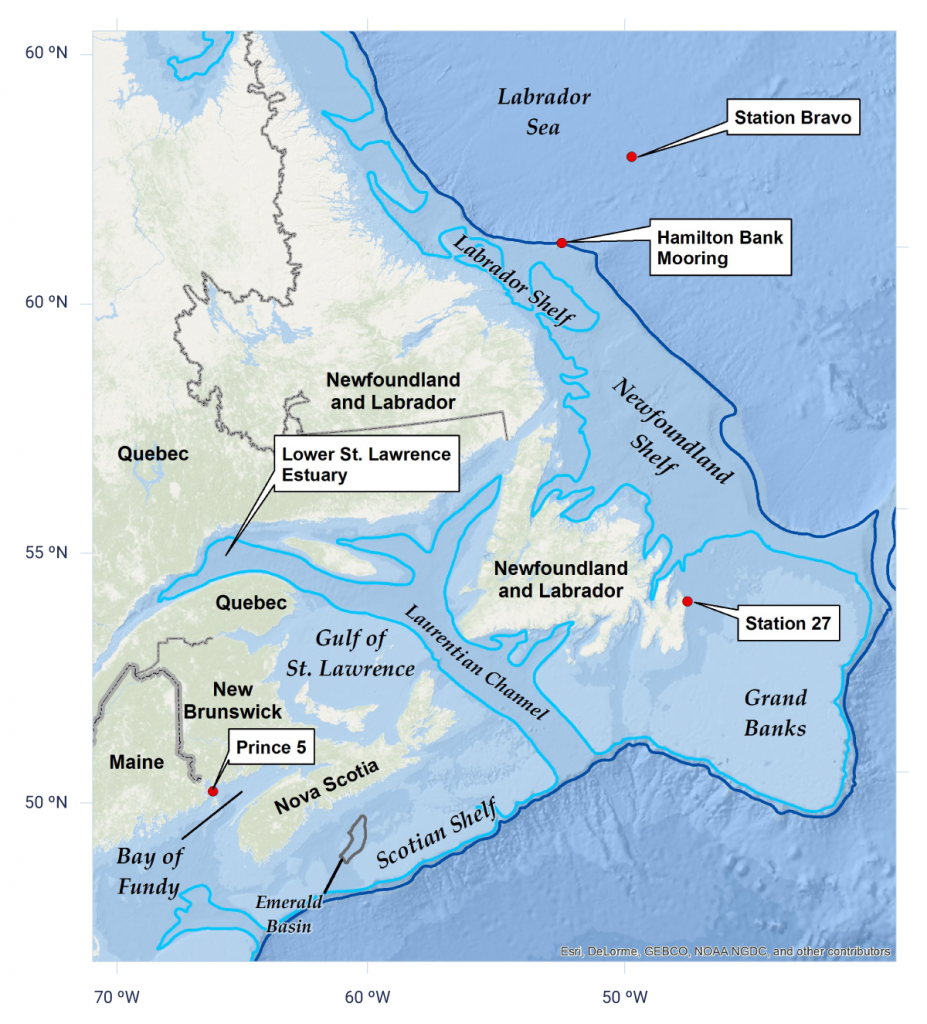 identifying areas of the Northwest Atlantic Ocean in which temperature and salinity time series are presented in this report. These areas include the Labrador Sea, Newfoundland Shelf, Scotian Shelf, Gulf of St. Lawrence, and Bay of Fundy. Ocean observations are collected by DFO Atlantic zone monitoring programs.