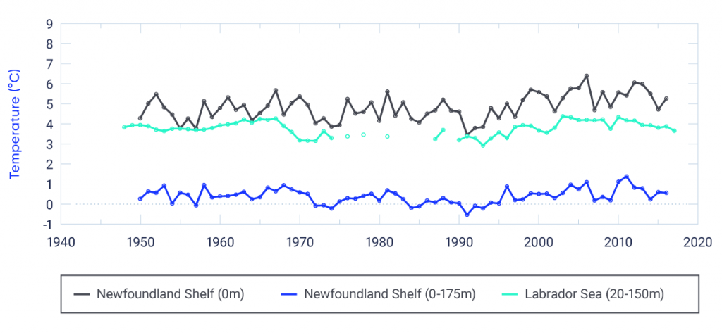 Three time series of ocean temperature in the Newfoundland Shelf and Labrador Sea collected by DFO monitoring programs. Sea surface temperature on the Newfoundland Shelf at AZMP Station 27 near St. John's increased by 0.13°C per decade, significant at 1% level (there is only a 1% possibility that this trend is due to chance) over the period 1950 to 2016. No long-term increase in ocean temperature averaged over depths of 0 to 175 m was observed from 1950 to 2016 at this site. Upper-ocean temperature, averaged over depths from 20 to 150 m of the central Labrador Sea basin (OWS Bravo), does not demonstrate long-term warming over the period 1948 to 2016.