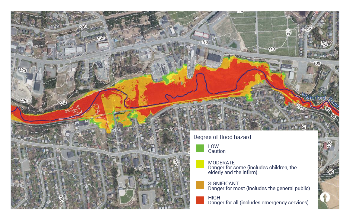 A map comprising an aerial photo of the St. John's Mount Pearl and Paradise municipalities with the flood risk area overlain on the aerial photo.