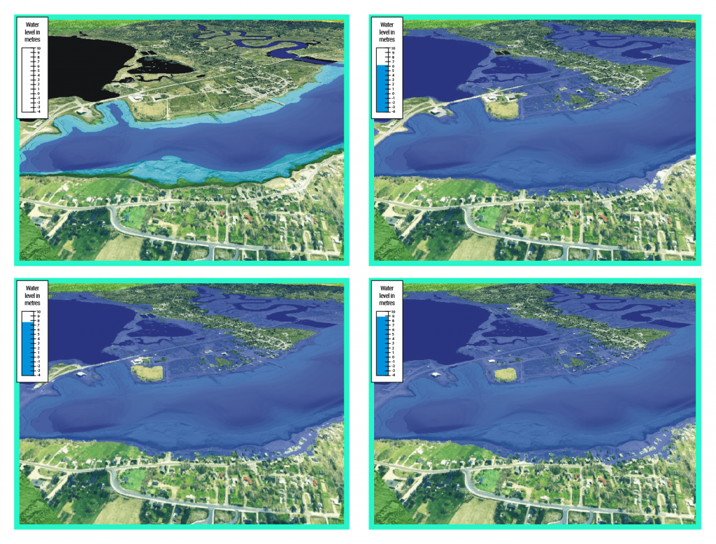 Computer generated birds-eye view of flood-risk mapping in Annapolis Royal, Nova Scotia. The simulation shows the floodwater extent from storm water surge resulting in the fire department being cut-off from the rest of the community.