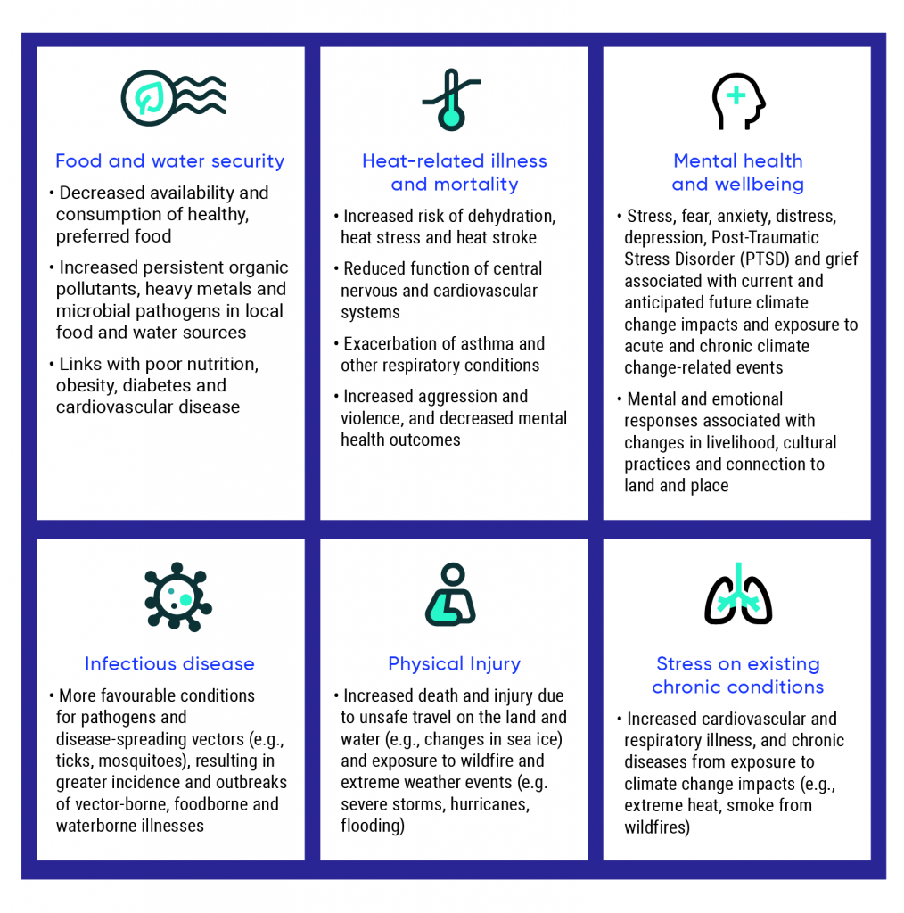 Graphic showing the six key climate-change related health challenges which are: food and water security; heat-related illness and mortality; mental health and well being; infectious disease; physical injury; and, stress on existing chronic conditions.