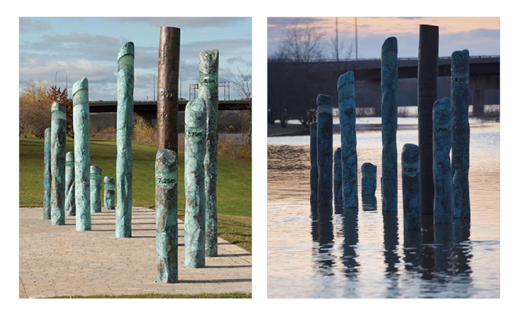 Photos côte à côte de l'installation d'art public « Watermark », de Gerald Beaulieu. La photo de gauche montre une piste cyclable et son accotement gazonné, tandis que la photo de droite montre l'œuvre inondée par la rivière.