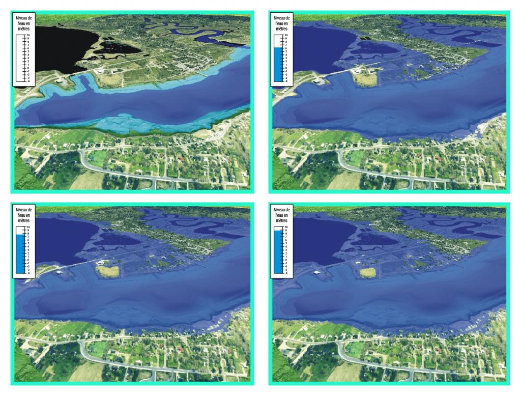 Vue aérienne générée par ordinateur des risques d'inondation à Annapolis Royal (Nouvelle-Écosse). La simulation montre l'étendue de l'inondation causée par l'onde de tempête qui a isolé le service d'incendie du reste de la collectivité.