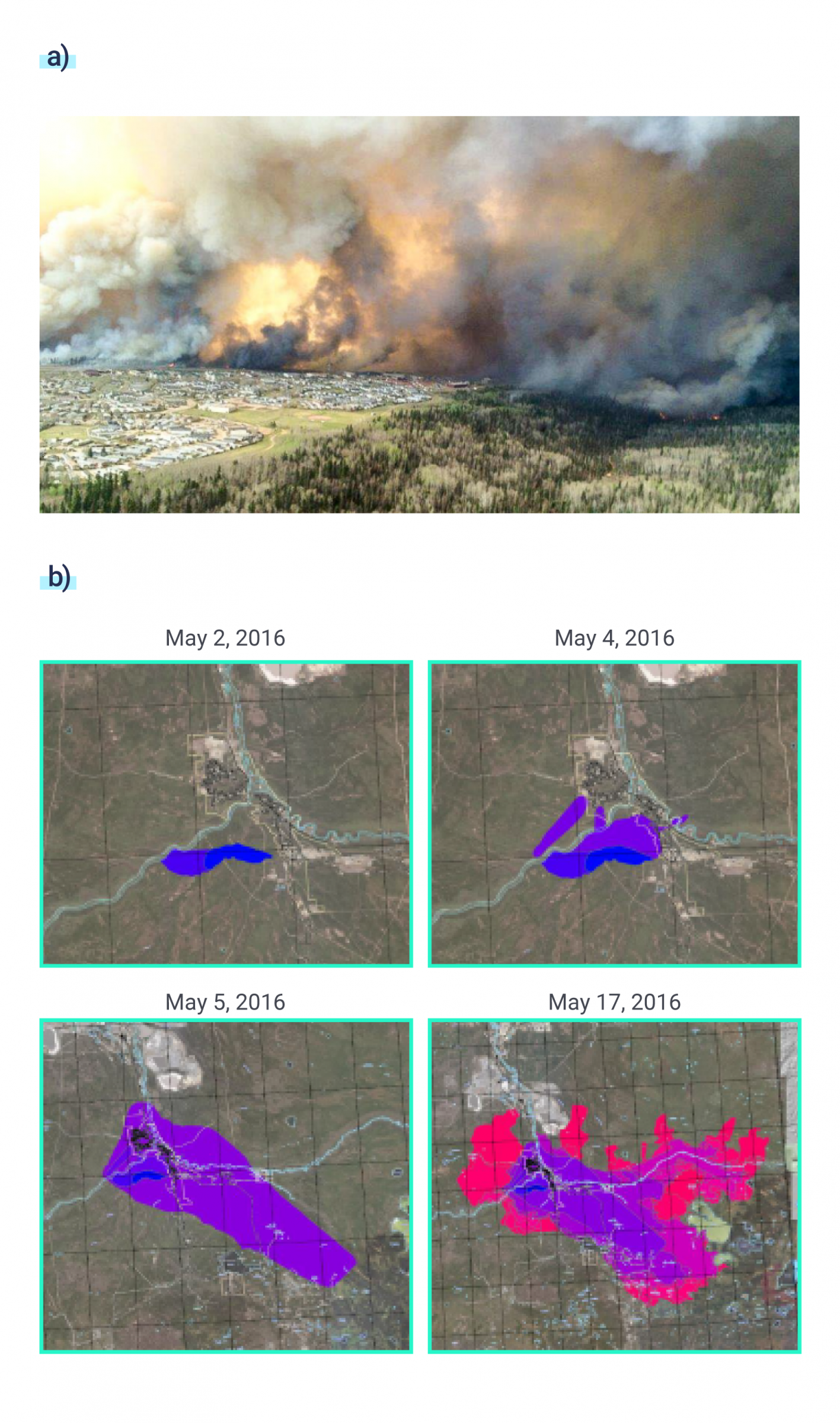 Aerial photograph showing wildfire and smoke clouds approaching the city of Fort McMurray during the 2016 Horse River wildfire. A series of four maps of the area surrounding Fort McMurray showing the spread of the Horse River wildfire between May 2 and May 14, 2016. The maps show that the wildfire began as a localized fire south-west of the city and spread to the north and east, enveloping the city and crossing several rivers.