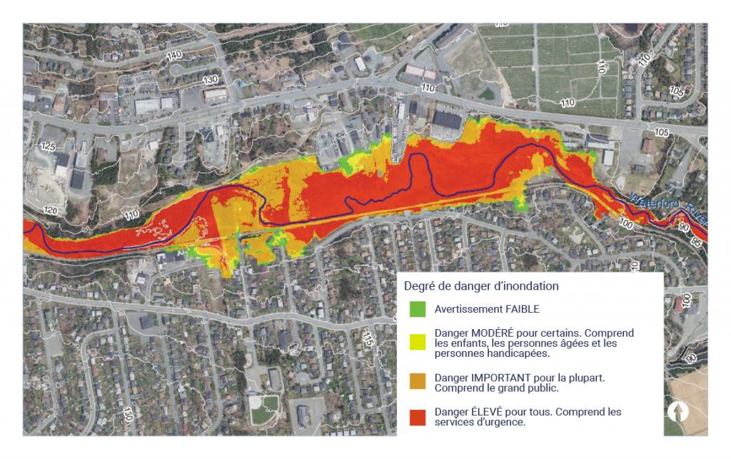 Photo aérienne des municipalités de Mount Pearl et de Paradise sur laquelle a été superposée la zone inondable.