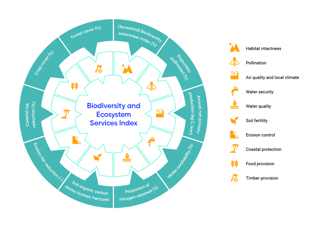 Circular diagram displays ten categories included in the Biodiversity and Ecosystem Services Index. The ten ecosystem services included are habitat intactness; pollination; air quality and local climate; water security; soil fertility; erosion control; coastal protection; flood provision; and, timber provision.