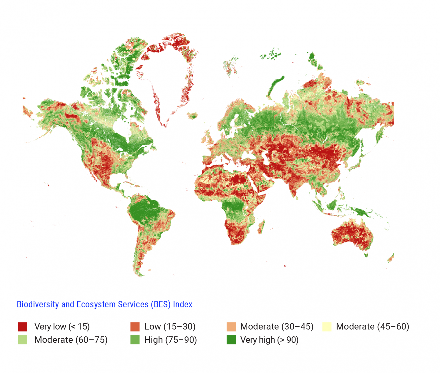 World map displays Biodiversity and Ecosystem Services (BES) Index values for different parts of the world. Very low BES values are shown in red and high BES values in green. Globally, the areas with the highest BES values are Canada, northern South America, central Africa, Northern Europe, Northern Asia, Papua New Guinea and Indonesia.