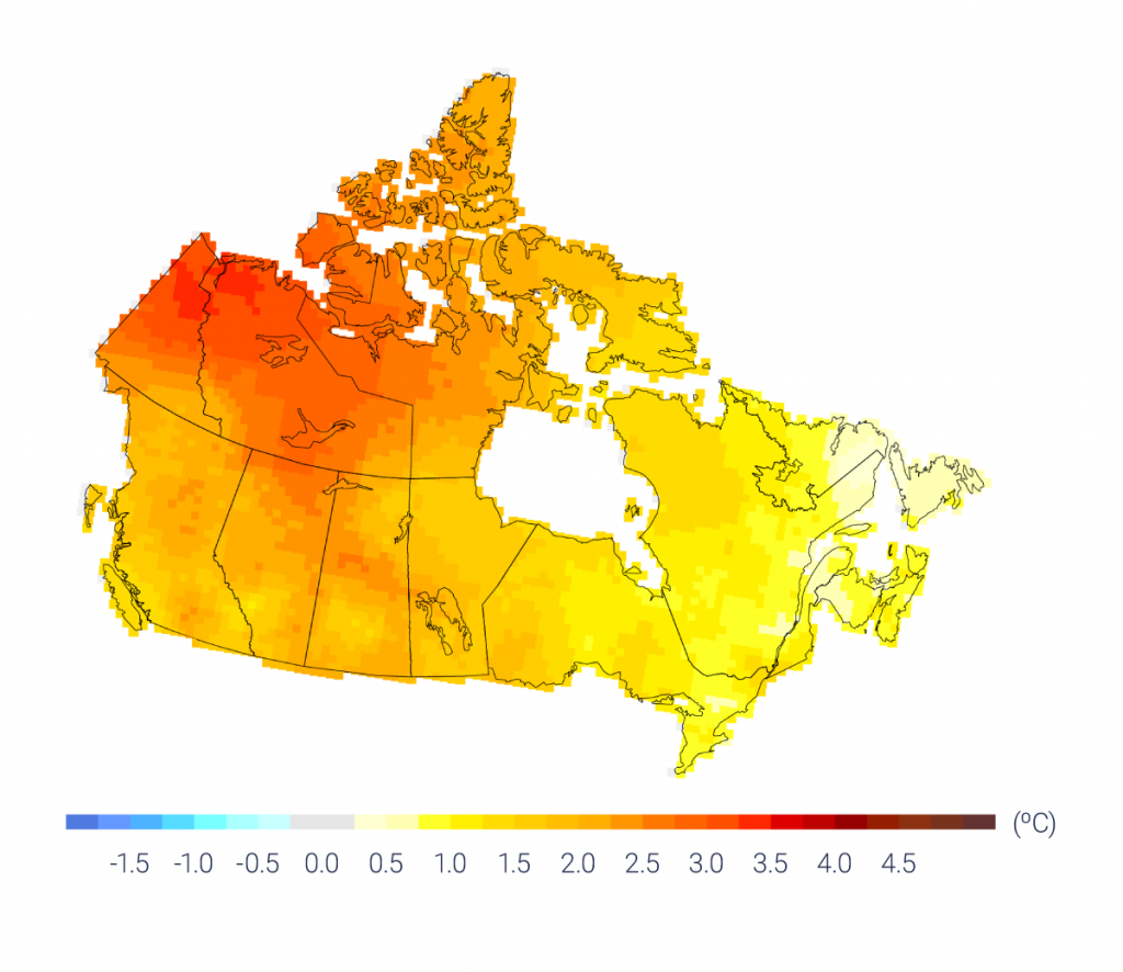 Map of Canada showing observed changes in annual temperature in degrees Celsius across Canada between 1948 and 2016. Most of Canada is approximately 1.0 degrees warmer. The Prairie region is between 1.5 and 2.0 degrees warmer. The Northwest Territories, Yukon, and western Nunavut are between 2.0 and 3.5 degrees warmer. Eastern Canada has experienced the least warming.