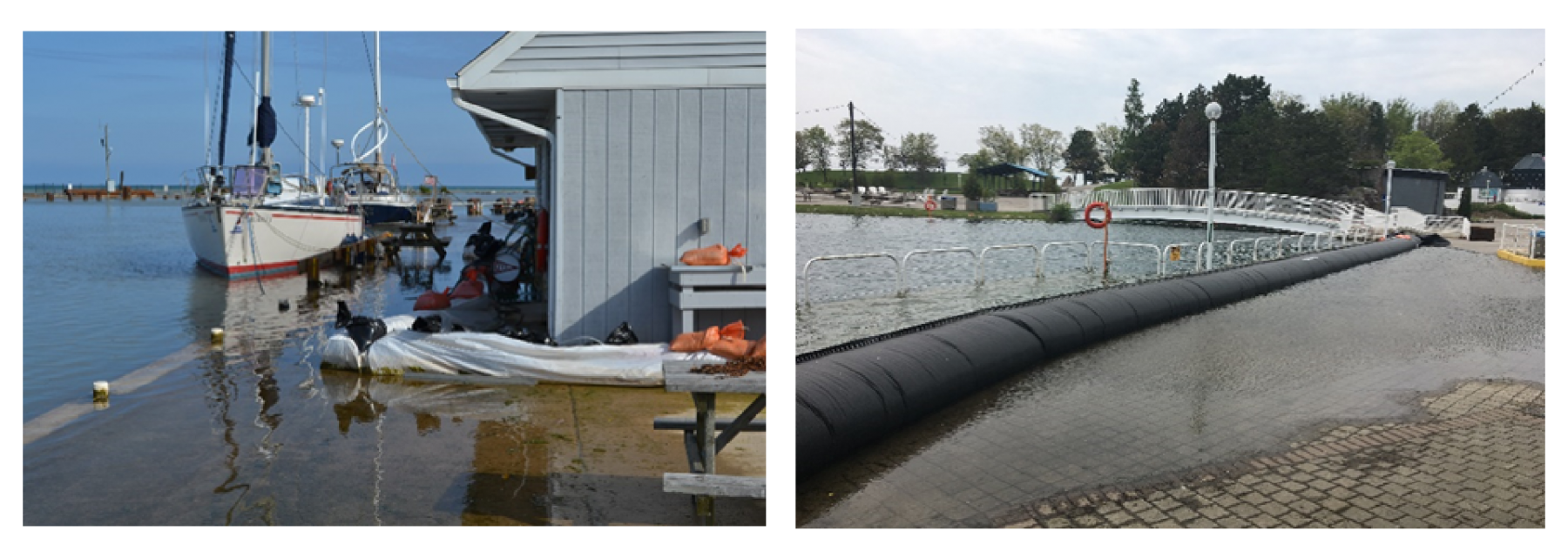 Left-hand photo shows a flooded dock with sandbags protecting a building. Right-hand photo shows a flooded stone walkway.