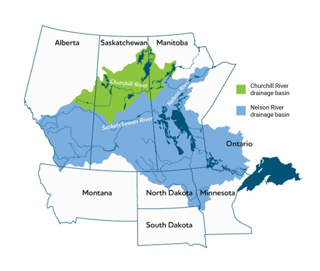 Map of the region including Alberta, Saskatchewan, Manitoba, Ontario, Montana, North Dakota, South Dakota, and Minnesota. The Churchill River drainage basin crosses northern Alberta, Saskatchewan, and Manitoba. The larger Nelson River drainage basin stretches from north-eastern Manitoba to south-western Alberta and south-eastern Ontario, Minnesota, and the Dakotas.