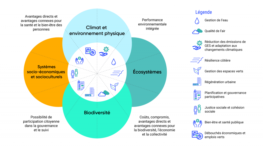 Le graphique illustre la manière dont les services écosystémiques sont coproduits par les écosystèmes, la biodiversité, les systèmes socioéconomiques et socioculturels, le climat et l'environnement physique. Lors de l'évaluation des services écosystémiques, il convient de prendre en compte les coûts, les compromis, les avantages et les avantages connexes pour la biodiversité, l'économie et la communauté, ainsi que le potentiel de participation des citoyens à la gouvernance et à la surveillance, les avantages et les avantages connexes pour la santé et le bien être humains, et le rendement environnemental intégré de l'écosystème.